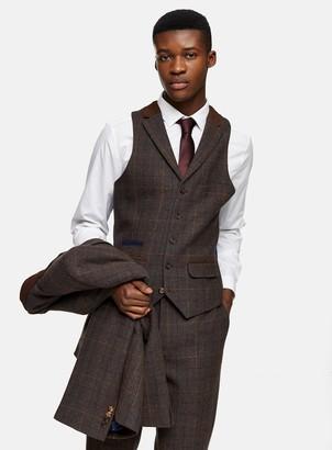 Topman HARRY BROWN Brown Check Single Breasted Slim Fit Suit Waistcoat