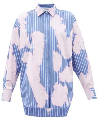 MSGM Tie-dye Pinstripe Cotton Shirt - Womens - Pink