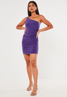 Missguided Purple Slinky Ruched One Shoulder Mini Dress