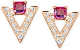 Swarovski Rose Gold-Tone Square Red Crystal Pavé Chevron Stud Earrings