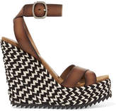 Pedro Garcia Taika Leather Wedge Sandals - Brown