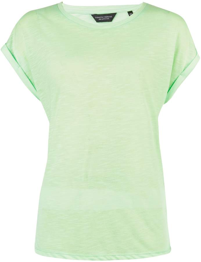 Dorothy Perkins Womens Neon Mint Roll Sleeve T
