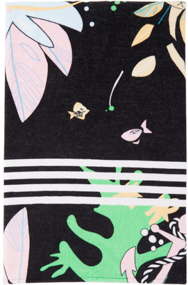 Thom Browne Black Tropical 4-Bar Beach Towel