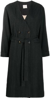 Alysi Pinstripe Belted Coat