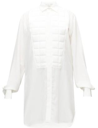 Bottega Veneta Quilted-bib Longline Crepe De Chine Shirt - Womens - White