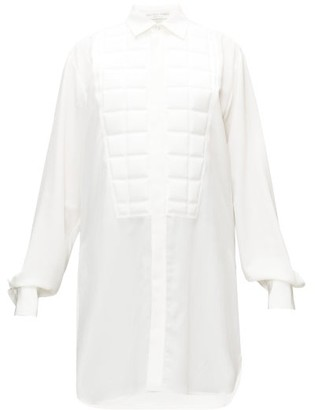 Bottega Veneta Quilted-bib Longline Silk Shirt - White