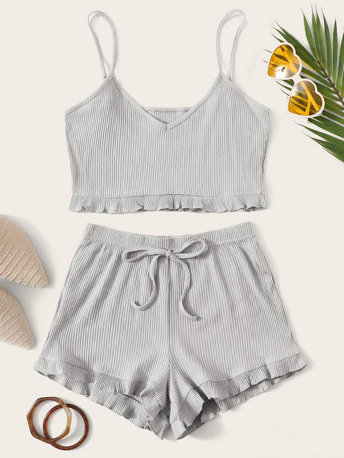 Shein Solid Frill Trim Crop Cami Top With Shorts
