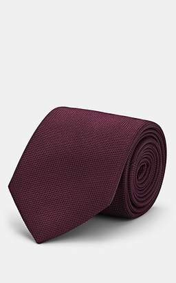 Brioni Men's Basket-Weave Silk Necktie - Purple