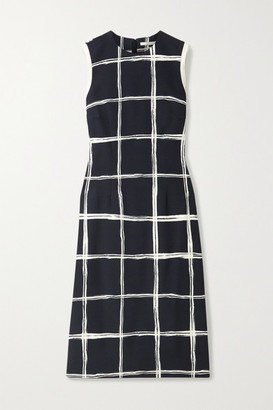 Jason Wu Collection Silk-satin And Chiffon-trimmed Checked Crepe Dress - Black