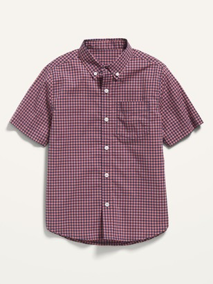 Old Navy Built-In Flex Short-Sleeve Plaid Pocket Shirt for Boys