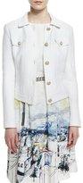St. John Clair Knit Collared Jacket, Bianco
