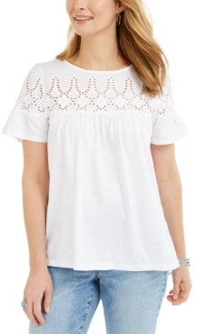 Style&Co. Style & Co Cotton Eyelet-Yoke Top, Created for Macy's