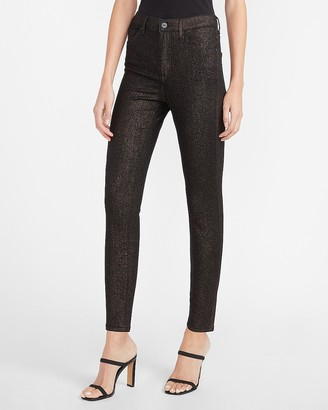 Express High Waisted Metallic Sparkle Skinny Jeans