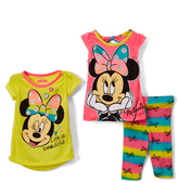 Children's Apparel Network Yellow Minnie Mouse Tee Set - Toddler