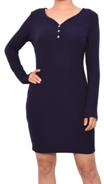 Planet Gold Juniors' Ribbed Henley Bodycon Dress