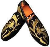 Fulinken Men's Fashion Velvet Slip-on Shoes Round Toe Slippers Mens Casual Embroidered Loafers Black / Blue / Red (10, )