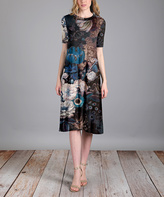 Aster Blue & Black Abstract A-Line Dress - Plus Too
