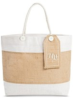 """Women's Tote Handbag with Removable """"Mrs."""" Tag - Beige"""