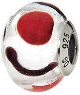 Murano Prerogatives Sterling White & Black Italian Glass Bead