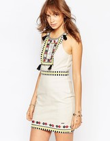 Pepe Jeans Canvas Dress With Beads & Tassles