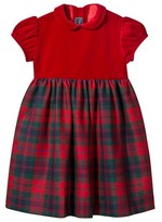 Oscar de la Renta Red Velvet and Tartan Dress