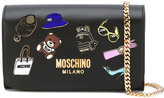Moschino badge appliqué wallet on chain bag