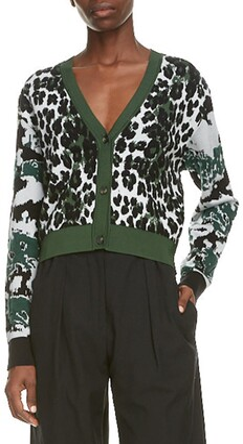 Kenzo Leopard Jacquard Crop Cardigan