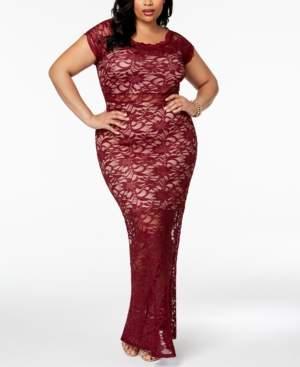 Morgan & Company Trendy Plus Size Lace Bodycon Gown