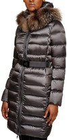 Moncler Tinuviel Fox Fur Trim Belted Down Coat