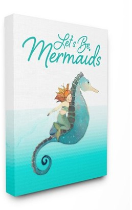 The Kids Room by Stupell Lets Be Mermaids Ocean Sea Animal Kids Nursery Word Design Canvas Wall Art by The Saturday Evening Post