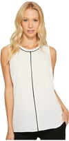 Vince Camuto Sleeveless Color Block Blouse with Contrast Piping Women's Blouse