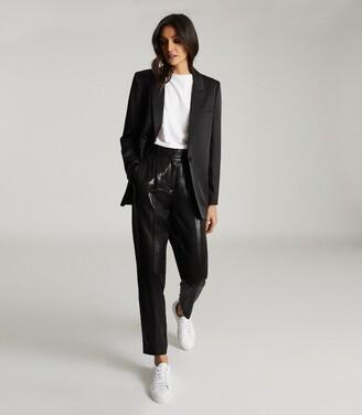 Reiss Beatrice - Satin Tailored Blazer in Black