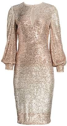 Badgley Mischka Ombre Puff-Sleeve Sequin Sheath Dress