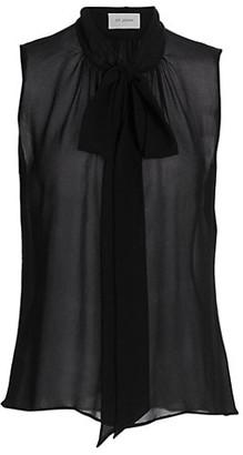 St. John Tie-Neck Heavy Silk Georgette Blouse