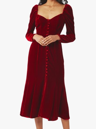 Ghost Sydney Silk Velvet Dress, Dark Red