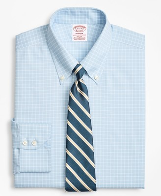 Brooks Brothers Stretch Madison Classic-Fit Dress Shirt, Non-Iron Royal Oxford Ground Check