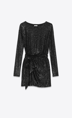 Saint Laurent Dresses Long-sleeve Belted Mini Dress In Jersey With Sequins Black 6