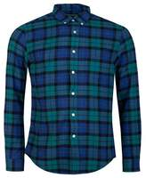 Portuguese Flannel Montevideo Shirt Colour: Green And Blue, Size: SMAL