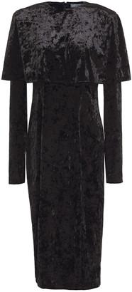 Sara Battaglia Layered Crushed-velvet Midi Dress