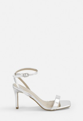 Missguided Silver Metallic Barely There Low Heels