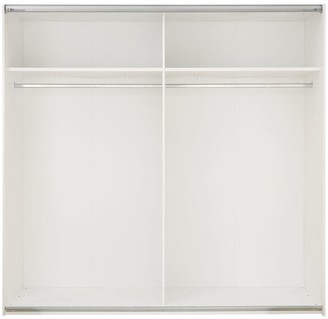 Crystal High Gloss 2 Door Sliding Mirrored Wardrobe with Crystal Strip Detail