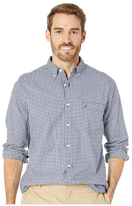 Nautica Classic Fit Stretch Shirt (Navy Gingham) Men's Clothing