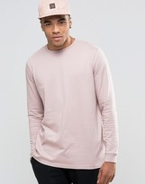 Asos Relaxed Longline Long Sleeve T-Shirt In Pink