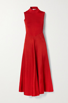 Victoria Beckham Cutout Draped Stretch-knit Turtleneck Midi Dress - Crimson