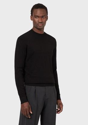 Emporio Armani Raised, Double Moss Stitch Sweater In Tunisian Crochet.