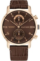 Tommy Hilfiger Tommy Hilfiger Kane Brown Sunray and Coronation Gold Detail Chronogrpah Dial Brown Leather Strap Mens Watch