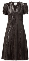 HVN Paula V-neck Sequinned Dress - Womens - Black
