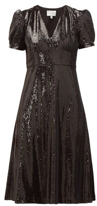 HVN Paula V-neck Sequinned Dress - Black