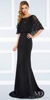 Mac Duggal Jersey Column Evening Dress With Laser Cut Beaded Caplet