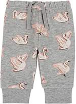 Stella McCartney INFANTS' TOOTIE SWAN-PRINT COTTON FLEECE SWEATPANTS